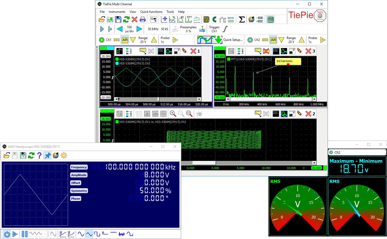 USBオシロ デモ版「マルチチャンネルソフトウェア」