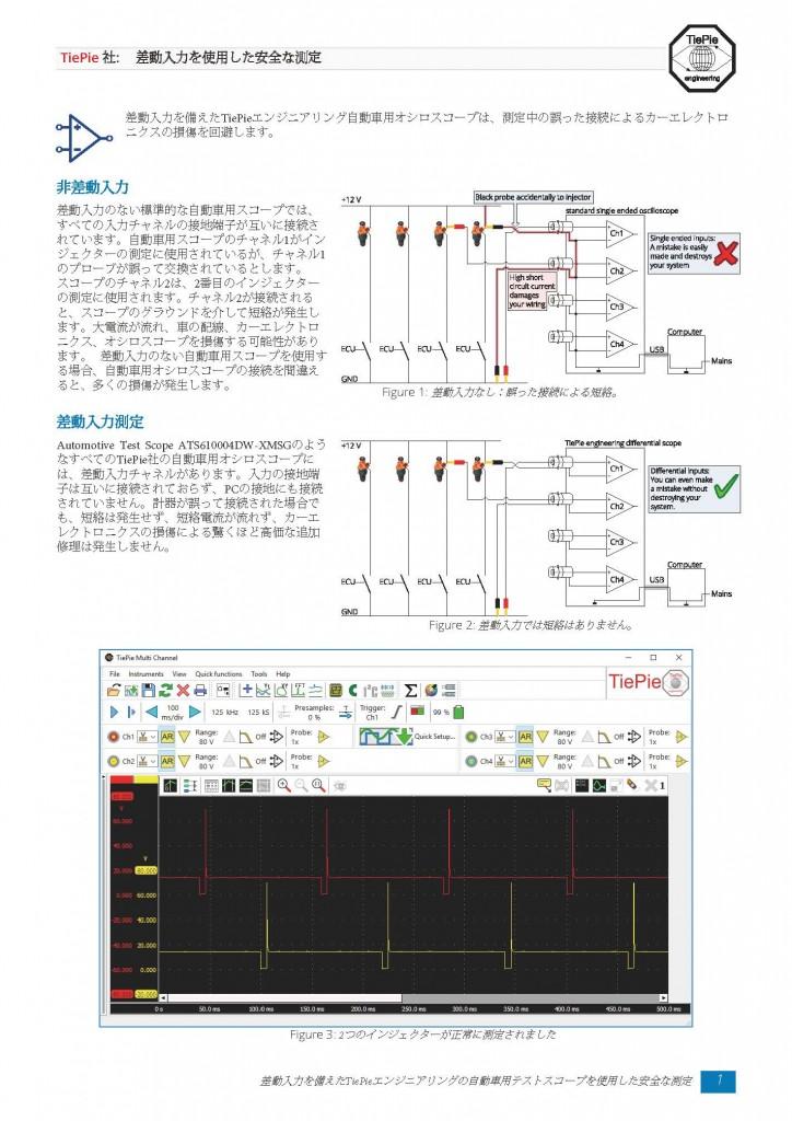 オシロスコープ 差動入力を用いた安全な測定