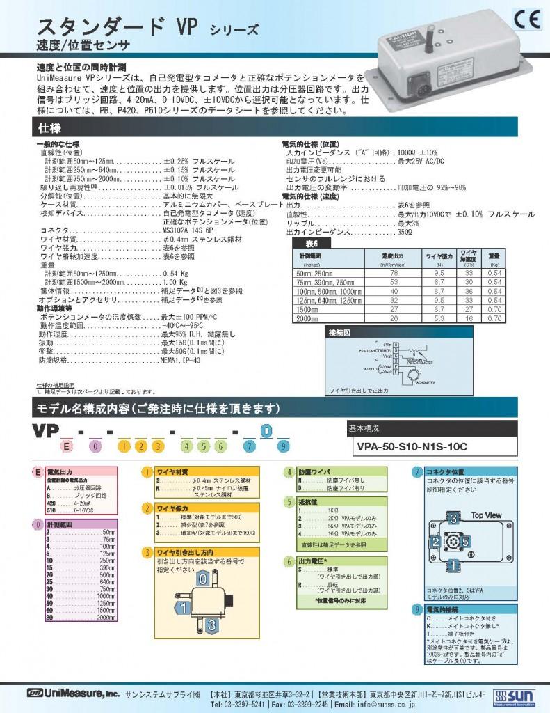 Unimeasure社製ワイヤ式位置/速度センサ スタンダードVPシリーズ