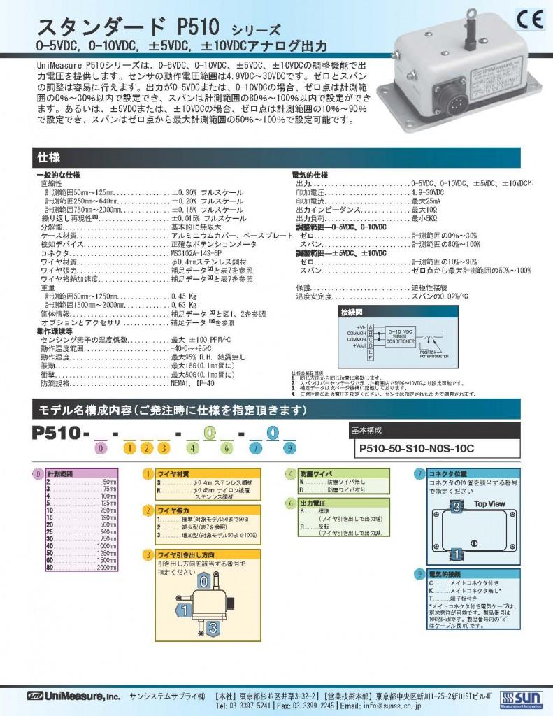 Unimeasure社製ワイヤ式位置センサ スタンダードP510シリーズ