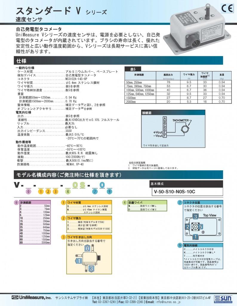 Unimeasure社製ワイヤ式速度センサ スタンダードVシリーズ